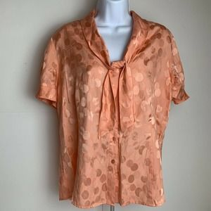 Pendleton Silk Blouse Short Sleeve w tie